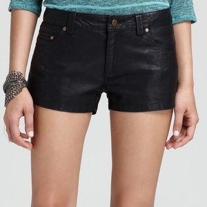 Free people black vegan leather shorts